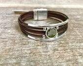 Swarovski Bracelet / Leather Bracelet /Boho Style/ Charm Bracelet /Black Diamond Swarovski/ Modern Chic / Isea Designs