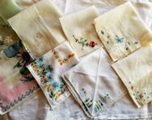 Lot of Eight (8) Vintage Handkerchiefs, Linen and Cotton, Embroidered and Printed, Florals