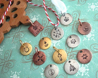 "Ornament Tags. Mini 1/2"" disc. Copper, silver or gold w/antiqued finish. 13mm pendant. Customize symbol or text on this tiny circle charm"