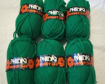 Discontinued Phildar Shoot 248 Green Vintage Yarn 6 Skeins
