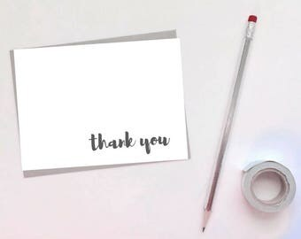 Set of [10] Folded Minimalist Thank You Cards - 4x6 Cards - Card Set - Cursive - Note Card