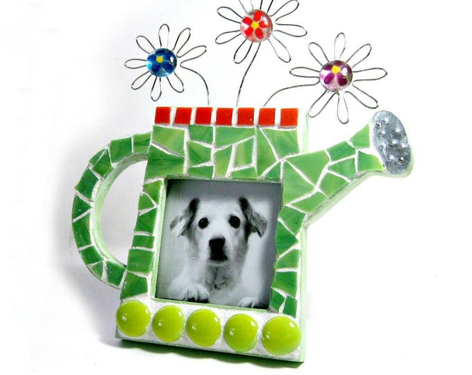 Handmade Mosaic Frame Watering Can Frame, Gardner Picture Frame. Watering Can Flowers Mosaic Frame for the Gardener, Green Mosaic Frame