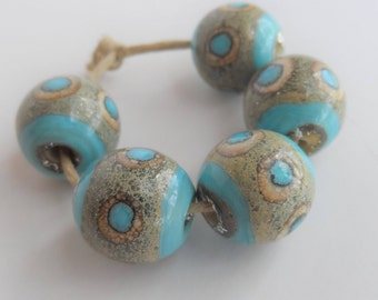 Handmade Lampwork Beads, Handmade Glass Beads, Organic Turquoise and Silvered Ivory  12mm