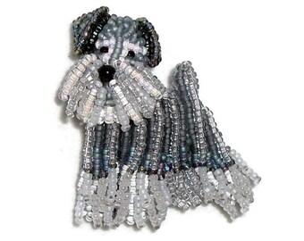 MINIATURE SCHNAUZER keepsake beaded dog pin pendant art jewelry (Made to Order)
