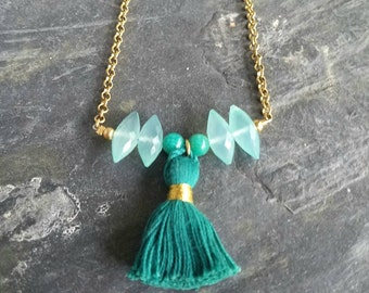 Teal Green Tassel Necklace, Gold Brass, Aqua Chalcedony Rice Beads,  Tassel Pendant, Boho, Bohemian