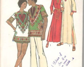 Simplicity 5043 1970s Misses Caftan Dashiki Pattern Mini Maxi Womens Vintage Sewing Pattern Size 10 Bust 32