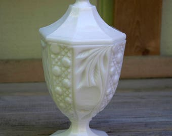 Milk Glass Covered Candy Dish Paneled Pedestal