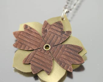 Mixed Metal Copper and Brass Flower Pendant with Sterling Silver Chain