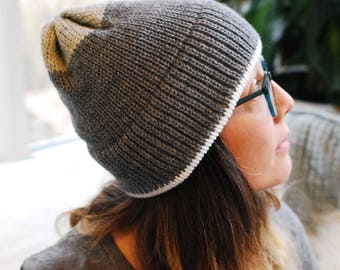 Machine Knit Beanie // Grey Color Block Pattern // Winter Accessory // Soft and Squishy