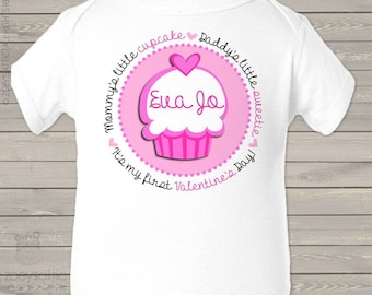 First Valentine's day mommy's little cupcake daddy's little sweetie bodysuit or t-shirt   snlv-042