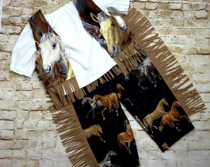 Cowgirl Costume - Western Party - Baby, Toddler, Little Girl - Birthday - FRINGED Vest and Pants - Southwest - Halloween - 6 mos to 6 years