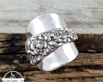 Demitasse Spoon Ring - Sterling Silver Spoon Ring - Repousse Spoon Ring - Spoon Jewelry - Floral Spoon Ring - Silverware Jewelry