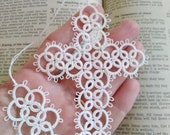 White Cross Bookmark Tatted Tassel Lace Tatting with crochet thread