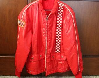 Racing Speedway Jacket, Vintage Red Lined Windbreaker, 60s Car Race USA