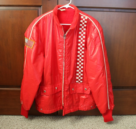 Vintage Racing Speedway Jacket, Red Lined Windbreaker, 60s Car Race USA