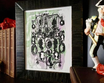 CAMEOS #117   one of a kind screenprint, pale lavender and pastel grey-green shimmer (8x10)