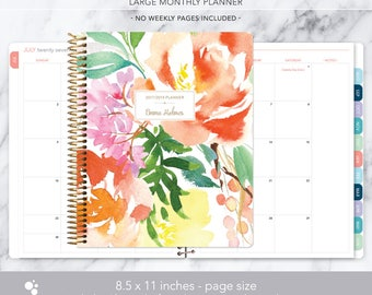 8.5x11 MONTHLY PLANNER notebook | 2017 2018 no weekly view | choose your start month | 12 month calendar | citrus watercolor floral