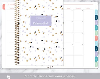 MONTHLY PLANNER | 2018 2019 no weekly view | choose your start month | 12 month calendar monthly tabs personalized | lavender gold confetti
