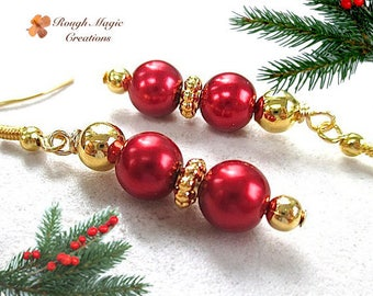 Red Pearl  Earrings, Gold Earrings, Christmas Jewelry, Holiday Earrings, Bright Red Long Dangles, Golden Earrings, Valentines Day Gift E461
