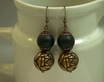 Vintage Copper Rose Bead Dangle Drop Earrings, Vintage Black Crystal Matte Glass Beads,Copper French Ear Wires -GIFT WRAPPED