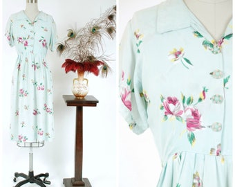 Vintage 1940s Dress - Darling Pale Aqua Floral Print Cold Rayon Homemade 40s Day Dress with Rose Print and Darling Buttons