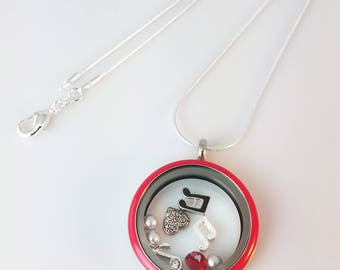 """Music Notes Heart Stainless Steel Living Locket 30mm w/  22"""" Silver Plated Snake Chain, Music Charms, Crystal Heart, Organza Bag"""