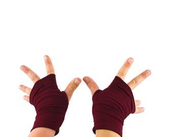 Toddler Arm Warmers in Merlot - Burgundy Wine Fingerless Gloves