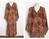 Bohemian Maxi Dress / Floral & Bird Ethnic Print w/ Empire Waist and Angel Sleeves / Vintage 70s Boho Festival Dress