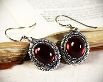 Red Victorian Earrings, Ruby Glass Renaissance Jewelry, Medieval Jewelry, Ren Faire Wedding, Bridesmaid Earrings, Bridal, Choose Color