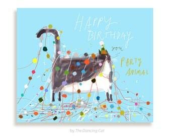 Funny Birthday Card - Cat - Party Animal- Birthday Balls