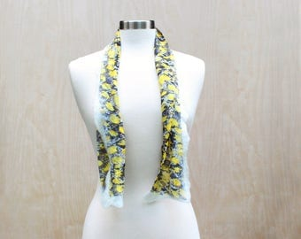 Short Yellow Black and White Silk Scarf Handmade Nuno Felt Fashion Scarf Soft Wool Silk Womens Fashion Scarves Wearable Art - READY TO SHIP