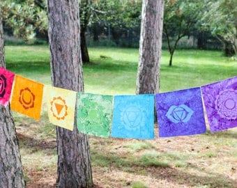 Prayer Flags - Chakra Prayer Flags - Rainbow Prayer Flags - Meditation Flags - Zen Garden - Sacred Space - Zen Decor - Sacred Geometry