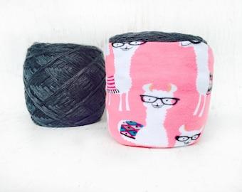 Pink Alpaca Yarn Bowl- Yarn holder- Yarn Organizer- Yarn Storage- Nerd Yarn cozy- Crochet Accessories- Yarn Holder- Skein Coats- Knitting