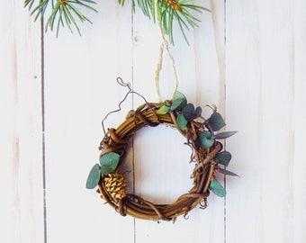 Mini Wreath Ornament - Eucalyptus Christmas Decor - Eucalyptus Wreath - Rustic Christmas Decor - Natural Christmas Ornament - Greenery Decor