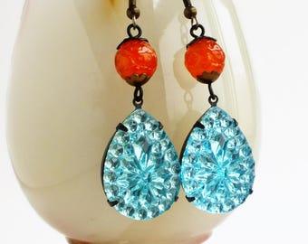Large Aqua Rhinestone Crystal Earrings Vintage Turquoise Blue Pear Dangle Glass Earrings Glamorous Aqua Blue Orange