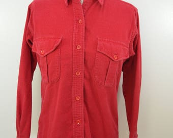 Vintage L.L. BEAN 1960's Cotton Chamois Cloth Shirt long sleeve RED made in usa sz 12 womens