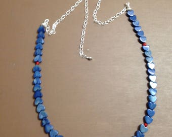 Hearts necklace Blue Denim Howlite  on silver chain red coral necklace