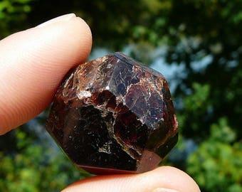 Indian Garnet Stone #4 ~ Genuine Faceted Garnet, Healing Stone, January Birthstone, Metaphysics, Hippie, Natural Stone, Meditation, Mineral