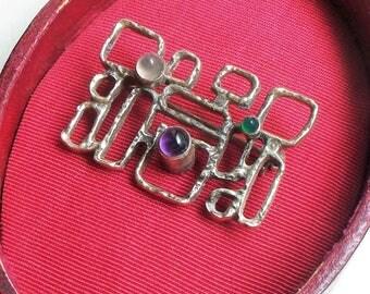 Sterling Brutalist Pin - Modernist, Mid Century, Amethyst, Moonstone, Sterling Silver, 925