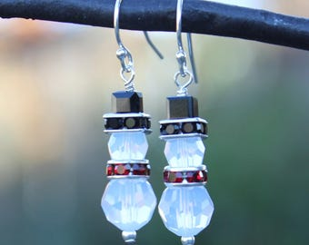 White snowman earrings - Swarovski crystal opal snowmen with black hats and red scarves on sterling silver ear hooks - free shipping USA