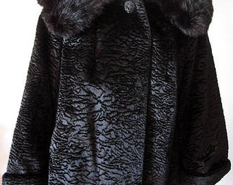 Vintage 50s Black Faux Fur Coat with Fur Collar Size Medium / Large