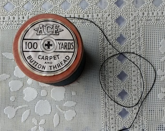 Vintage Wood Spool Ace Black Carpet Button Thread