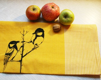 Fair Trade handwoven tea towel 'great tit' yellow