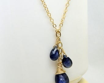 Genuine Sapphire Necklace, Gold Filled, Natural Blue Gemstone, Navy Stone, September Birthday Gift, Birthstone Jewelry, Ready to Ship