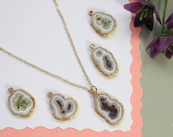 Sliced Stone Necklace, Fossil Necklace, Thin Sliced Pendant, Gold Filled, Fossil Pendant, BoHo Jewelry, Natural Stone AP114