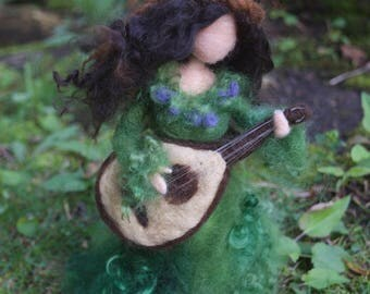 Summer Goddess, Needle felted, with Lute, Woodland Greens