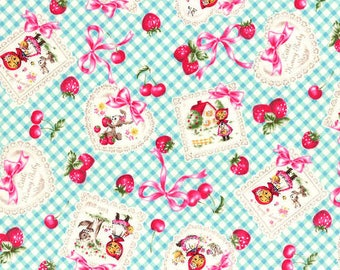 "Little Red Riding Hood Fabric - Lecien Fabric - ""Little Heroine"" Fabric - Lecien Discontinued - Pink Blue Gingham Quilt Fabric Kawaii"