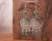 Bullet Jewelry - Southwest Style Round Concho and Turquoise Bullet Casing Dangles - Cowgirl Fashion - December Birthday