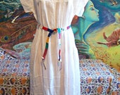 Mexican Dress, White Mexican dress, Embroidered dress, Mexican Cotton dress, Frida Kahlo, size L