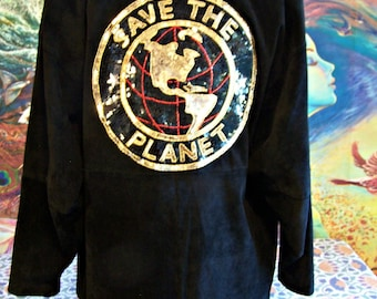 SAVE the PLANET, Jacket, Suede, Black, Leather, Eco, Coat, size M/L